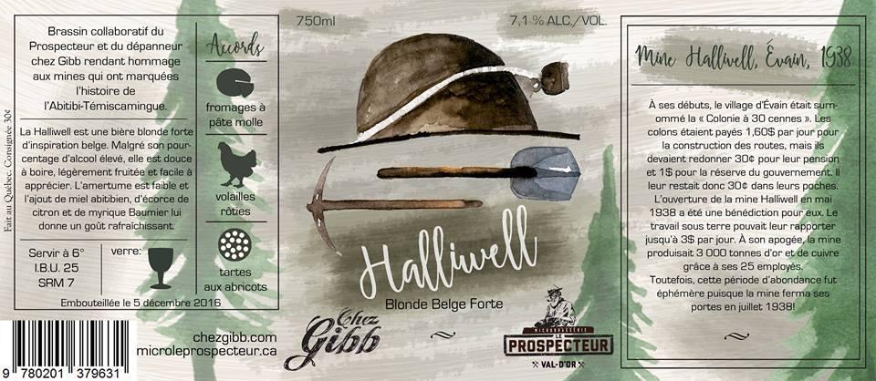 Étiquette de la bière Halliwell