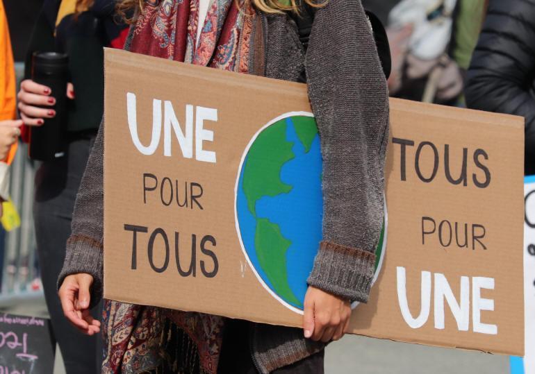 """Pancarte """"Une pour tous - Tous pour une"""""""