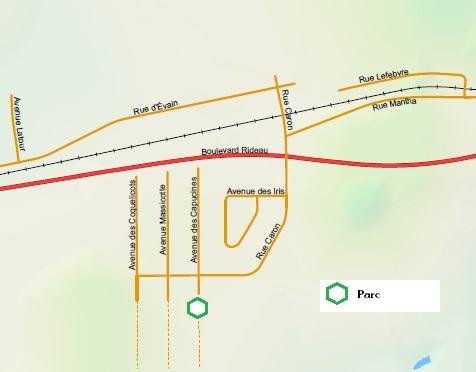 Carte géographique du quartier Est d'Évain
