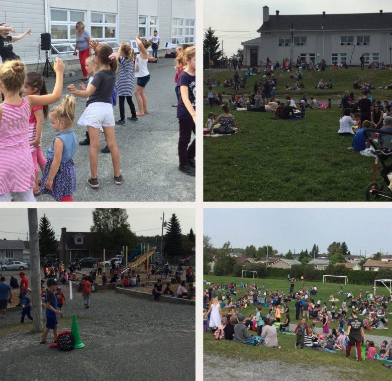 Pique-nique et jeux dans la cour de l'école Saint-Bernard