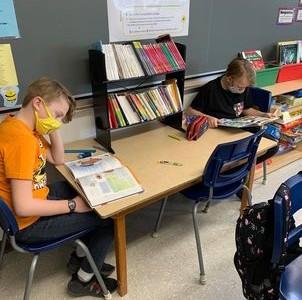 Deux étudiants concentrés par leur lecture