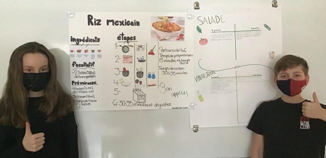 Recettes affichées au mur: riz mexicain et salade